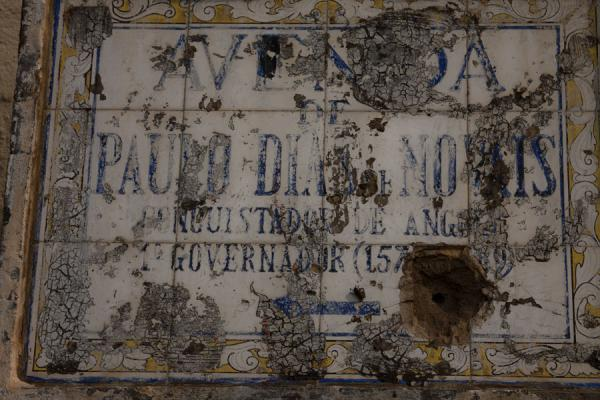 Picture of Old tiled street sign outside the wall of the Fortaleza - Angola - Africa