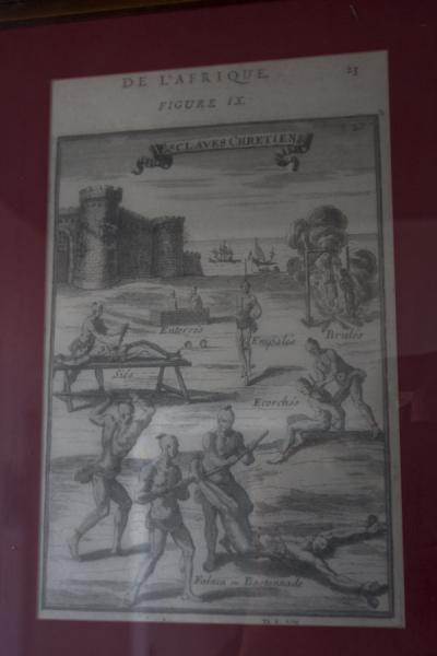 Picture of Drawing in the museum of slavery depicting the way slaves were treatedMorro da Cruz - Angola