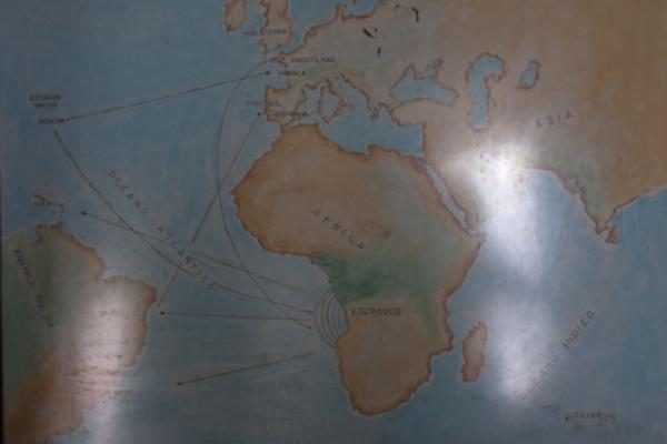 Picture of Map in the museum showing how slaves were taken from Africa to South America