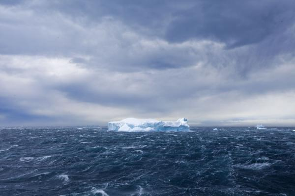 Picture of Antarctic Sound (Antarctica): Hurricane raging over the Antarctic Sound with iceberg