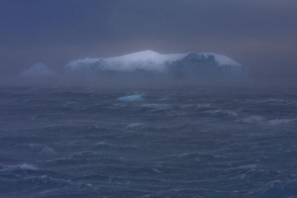 Picture of Antarctic Sound (Antarctica): Iceberg caught in a storm in the Antarctic Sound