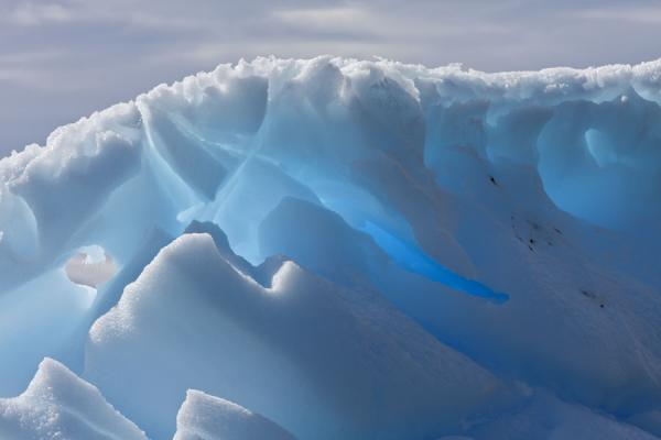 Foto van Blue light shining through iceberg at Brown Bluff - Antarctica - Antarctica