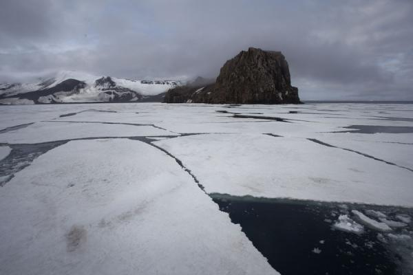 Picture of Deception Island (Antarctica): Ice floes blocking the entrance to the caldera of Deception Island