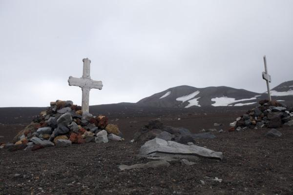 Picture of Deception Island (Antarctica): Tombs at the old whaling station of Deception Island