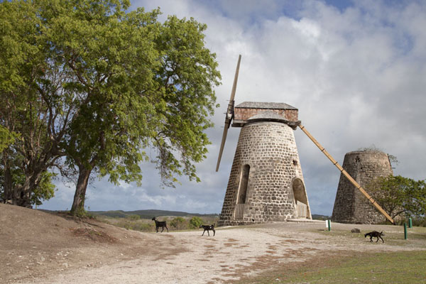 Foto van Antigua en Barbuda (The windmills of Betty's Hope; the left one has been restored)