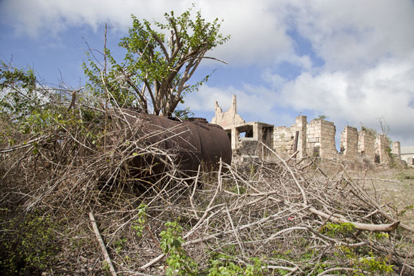 Foto van Looking up the ruins of the Managers HouseBetty's Hope - Antigua en Barbuda