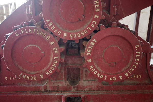 Picture of Detail of the interior of the windmill with the rollers that pressed the sugar cane into juice