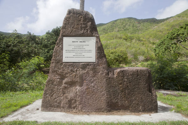 The small monument commemorating the name-change of Boggy Peak to Mount Obama | Mount Obama | Antigua and Barbuda