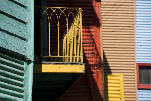 Brightly coloured balcony and walls in Caminito | Caminito | Argentina
