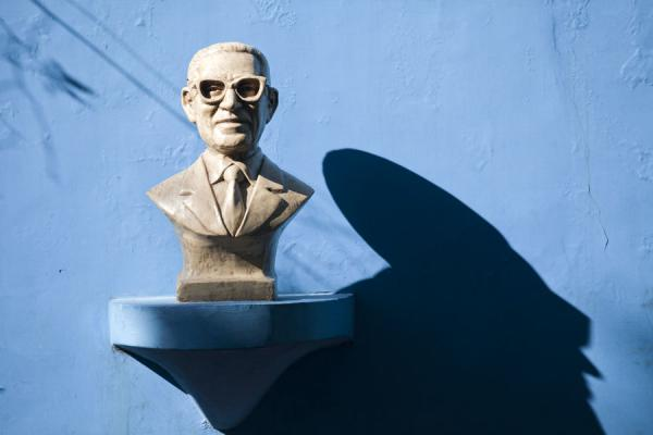 Picture of Shadow of a sculpture of a head on a blue wall
