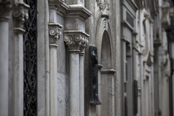Picture of La Recoleta Cemetery (Argentina): Mausoleums in an alley in La Recoleta cemetery