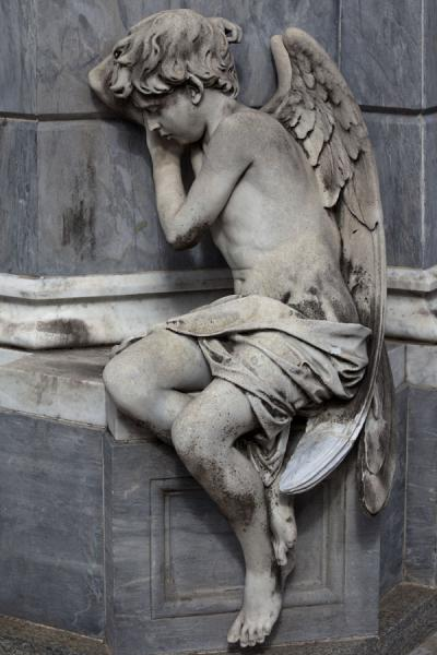 Picture of La Recoleta Cemetery (Argentina): Angel sitting on the corner of a grave at La Recoleta