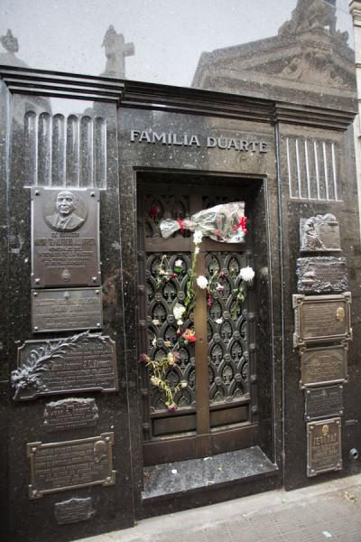 Probably the most famous tomb of La Recoleta: the grave of Evita Perón | La Recoleta Cemetery | Argentina