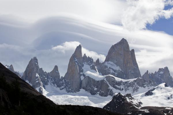 Picture of Parque Nacional Glaciares (Argentina): Fitzroy and other peaks with typical clouds on an afternoon in the park