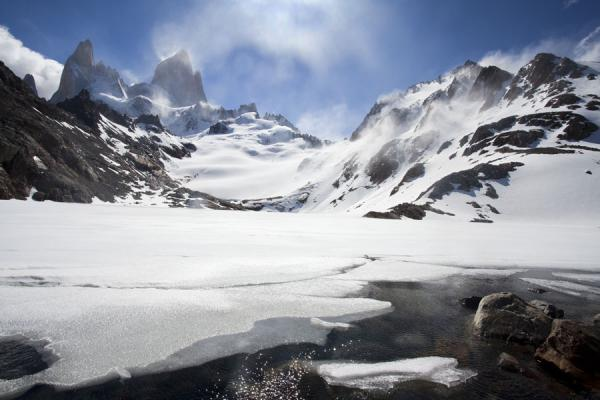 Frozen Laguna de los Tress with Fitzroy range in the background | Parque Nacional Glaciares | Argentina