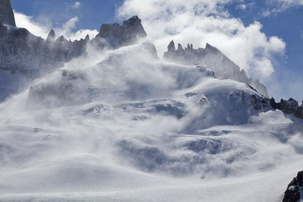 Picture of Parque Nacional Glaciares (Argentina): Snow being blown down the mountains by a storm near Fitzroy