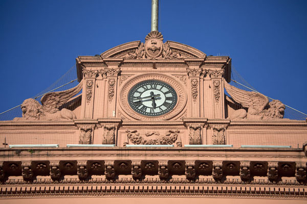 Detail of the upper part of the Casa Rosada | Plaza de Mayo | Argentina