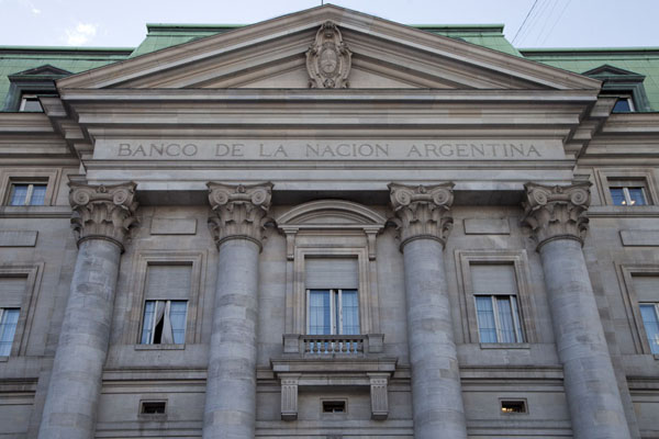 Looking up the Banco de Argentina building on Plaza de Mayo | Plaza de Mayo | Argentina