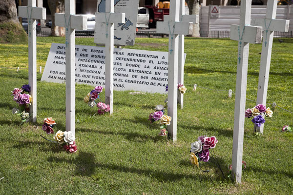Crosses erected to commemorate the soldiers who died in the Malvinas/Falklands war in 1982 | Plaza de Mayo | Argentina