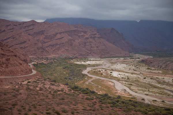 View of the Quebrada de las Conchas with red mountains and a green riverbed | Quebrada de las Conchas | Argentina