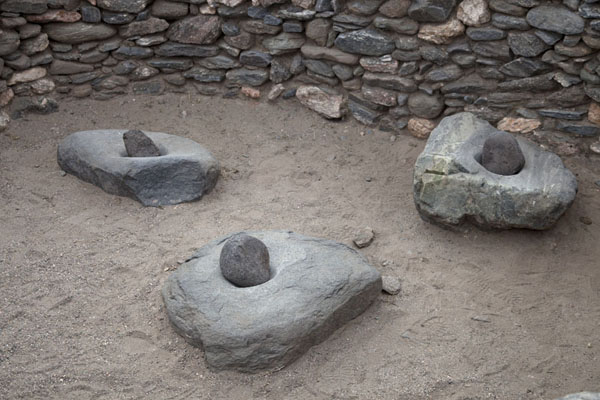 The Diaguitan people used these rocks and stones as mortar and pestle to grind | Quilmes Ruins | Argentina