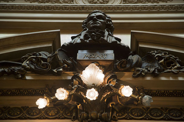 Looking up a bust of Mozart in the Busts Hall | Teatro Colón | Argentina