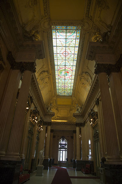 View of the Busts Hall with stained glass ceiling and busts of composers | Teatro Colón | Argentina