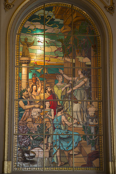 Picture of Teatro Colón (Argentina): Stained glass with colourful image in window of Teatro Colón