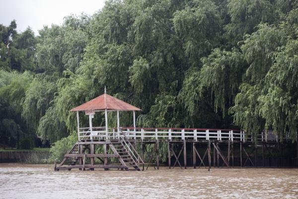 One of the many wooden piers on a main river in the Paraná delta | Tigre Paraná Delta | Argentina