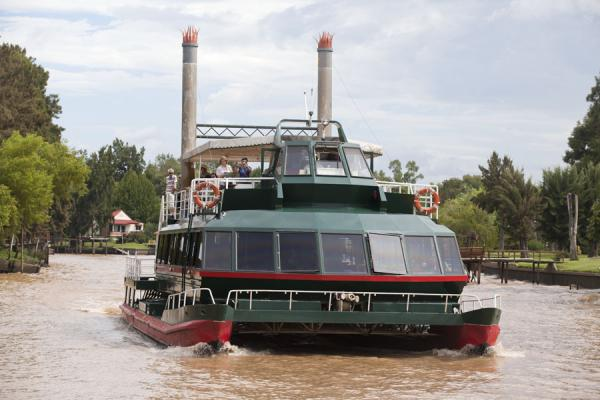 Catamaran plying the Sarmiento river near Tres Bocas | Tigre Paraná Delta | Argentina