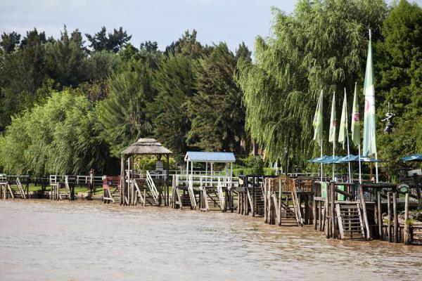 Picture of River Sarmiento with restaurants at Tres Bocas