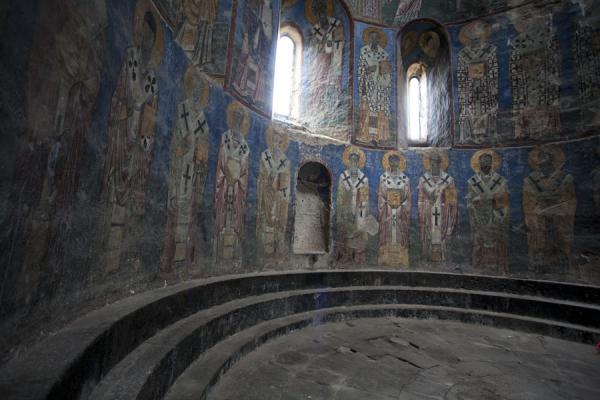 Apse of the Mother of God church with colourful frescoes adorning the wall | Akhtala monastery | Armenia