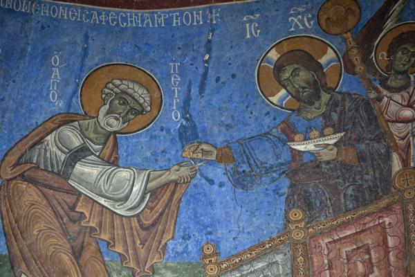 Detail of the Last Supper scene depicted on the frescoes in the apse of the Akhtala church | Akhtala monastery | Armenia