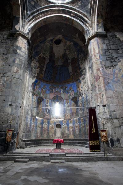 The apse of Akhtala church covered with frescoes | Akhtala monastery | Armenia