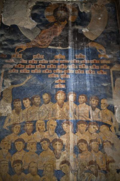 Detail of frescoes on the wall above the entrance of Akhtala church | Akhtala monastery | Armenia