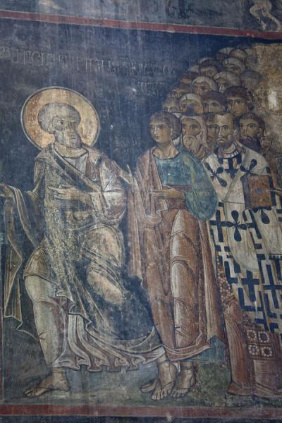Foto de Fragment of scene of a fresco on a wall inside Akhtala church - Armenia - Asia