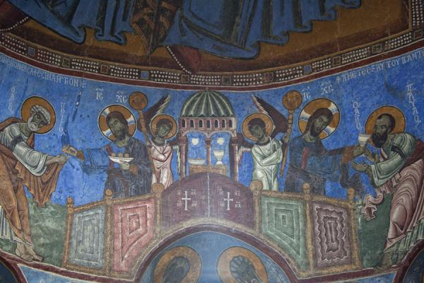 Last supper scene depicted on the frescoes on the wall of the apse of the Mother of God church | Akhtala monastery | Armenia