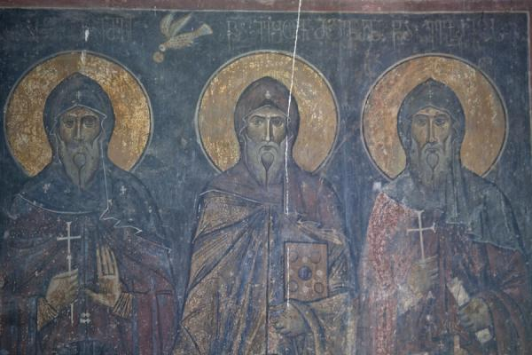Three saints depicted on a wall of Akhtala church | Akhtala monastery | Armenia