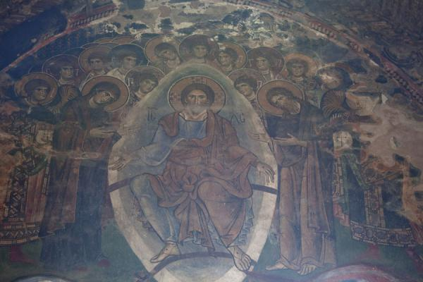 Fragment of a biblical scene as depicted on a fresco on a wall of the Mother of God church at Akhtala | Akhtala monastery | Armenia