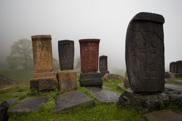Picture of Ardvi (Armenia): Khachkars in the fog at the cemetery of the Monastery of St. John