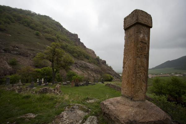 Picture of Ardvi (Armenia): Khachkar at the Monastery of St. John with view of Ardvi