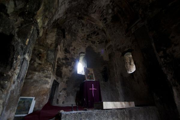 Dark interior of the Monastery of St. John | Ardvi | Armenia