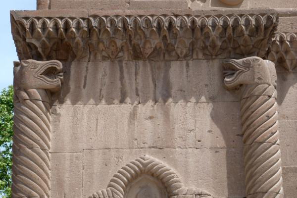 Picture of Ejmiatsin Cathedral (Armenia): Heads of snakes carved on the wall of Ejmiatsin Cathedral