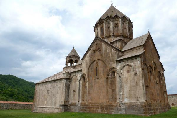 Picture of Gandzasar Monastery (Armenia): The tambour with bas-reliefs and the belfry crowning the Cathedral of St. John the Baptist at Gandzasar Monastery
