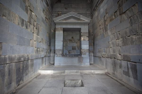 The interior of the temple of Garni with altar and sacrificial pit | Garni temple | Armenia