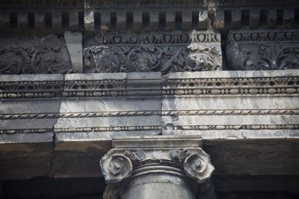 Picture of Detail of the roof of the temple of Garni with column and frieze