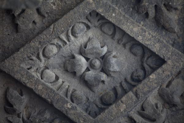 Picture of Close-up of detail with flowers in the roof of the temple of Garni