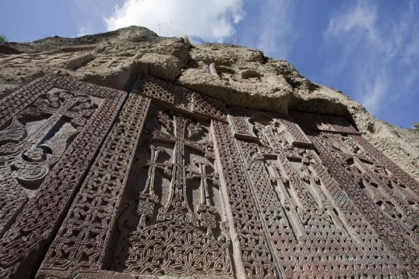 Picture of Geghard monastery (Armenia): Looking up a row of khachkars at Geghard Monastery