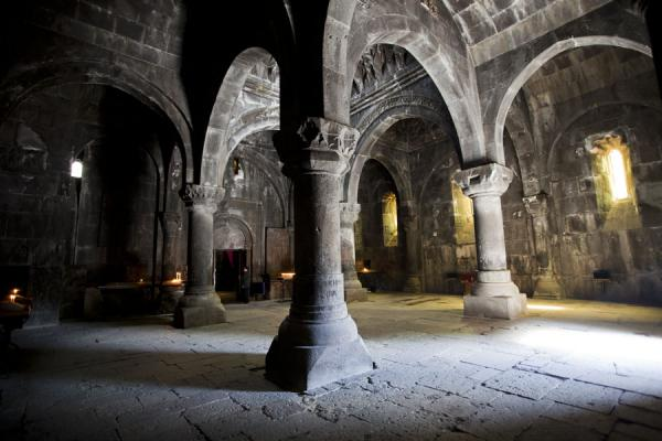 Inside the gavit at Geghard Monastery | Geghard monastery | Armenia
