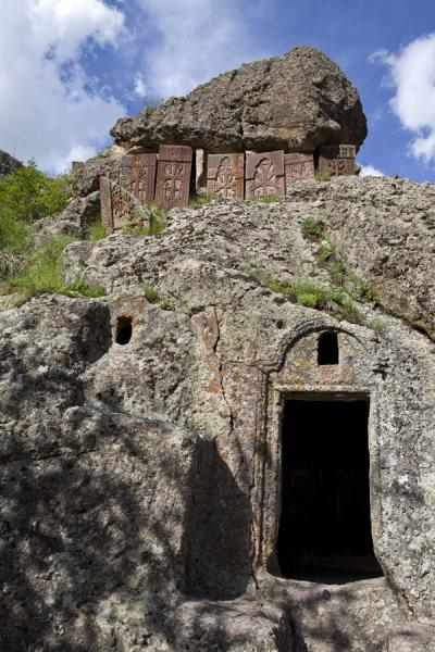 Picture of Geghard monastery (Armenia): Rocky entrance to a rock hewn church at Geghard Monastery